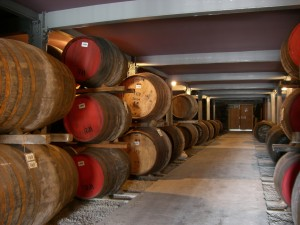 Macallan casks at the distillery warehouse