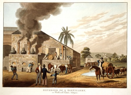 A rum distillery with slaves working