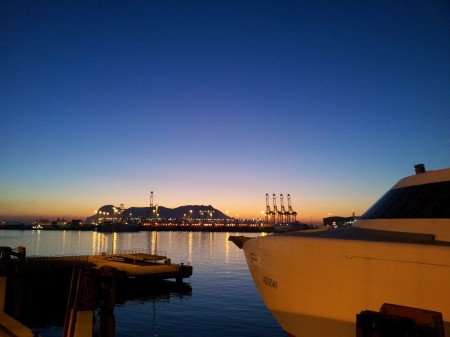 sunrise behind Gibraltar on Algeciras